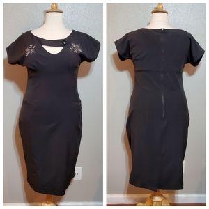 TATYANA Black Short Sleeve Pencil Dress NWT